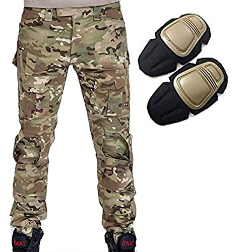 H World EU Military Army Tactical Airsoft Paintball Shooting Pants Combat Men Pants with Knee Pads MC (M) from H World EU