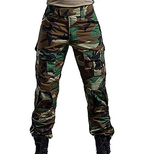 H World EU Military Army Tactical Airsoft Paintball Shooting Pants Combat Men Pants with Knee Pads Wooland (S) from H World EU