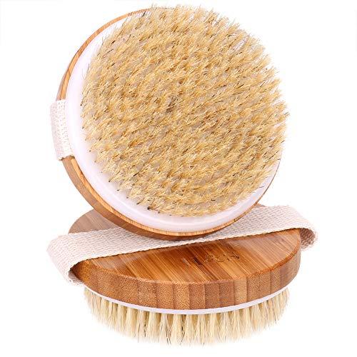 H&S 2 Body Brush Dry Skin Bath Shower Brush Natural Bristles Bamboo Wood from H&S