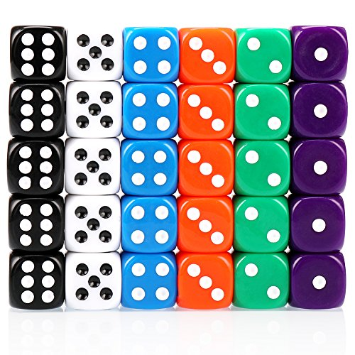 H&S 30x Dice 6 Sided 16mm 6 Colours Spot Dice Set for Dice Games from H&S