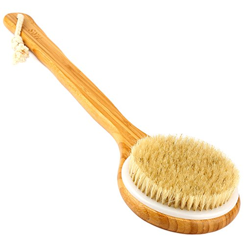 H&S Body Brush Back Scrubber Long Handle Bath Shower Brush Natural Bristles Dry Skin Bamboo Wood from H&S