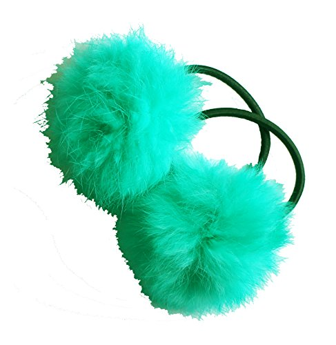 HAND ® A Pair of Lovely Pom Pom Hair Bands, Decorative Pom Poms w/Band - 2 (Sea Green) from HAND