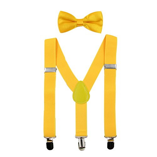 HANERDUN Kids Braces Bowtie Sets Adjustable Suspenders With Bow Ties Gift Idea For Boys And Girls, Yellow, One Size from HANERDUN