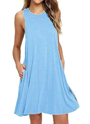 HAOMEILI Women's Sleeveless Pockets Casual Swing T-Shirt Summer Dress (X-Large(UK 20-22), Light Blue) from HAOMEILI