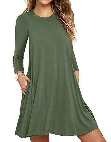 HAOMEILI Women's Sleeveless Pockets Casual Swing T-Shirt Summer Dress (X-Large(UK 20-22), Long Sleeve Army Green) from HAOMEILI