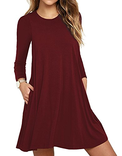 HAOMEILI Women's Sleeveless Pockets Casual Swing T-Shirt Summer Dress (X-Small(UK 4-6), Long Sleeve Wine Red) from HAOMEILI