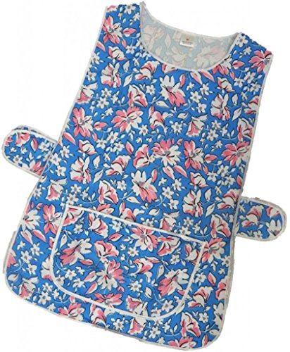 HDUK Top Quality Ladies Floral Home / Work Tabard (Tabbard) Apron with Single Large Front Pocket, White Piping and Side Fastening Button Tabs - Available in NAVY / PINK / ROYAL / TURQUOISE - UK Sizes 8/10 up to 28/30 - FREE UK DELIVERY (UK 16/18 (OS), Royal Blue Floral) from HDUK TM Tabards & Aprons