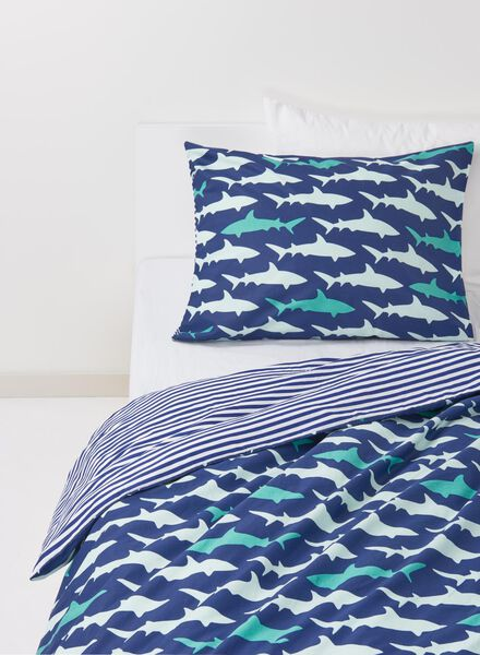 HEMA Kids Duvet Cover - Cotton - 140 X 200 Cm - Blue Shark (blue) from HEMA
