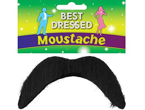Black Fake Moustache - Disco, 118, Mexican, Mario - Fancy Dress Accessory(3-Pack) from Henbrandt