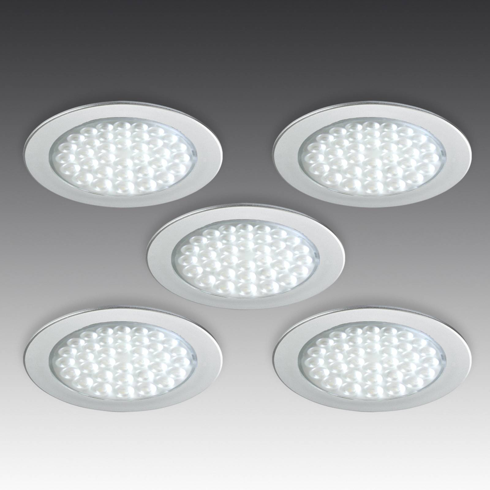 Five R 68 LED recessed lights stainless steel look from HERA