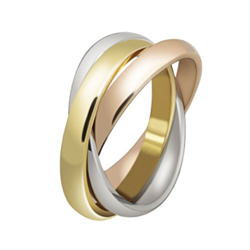 HIJONES Jewellery Womens Forever Love Series Stylish Tricyclic Tricolor Ring Size M from HIJONES