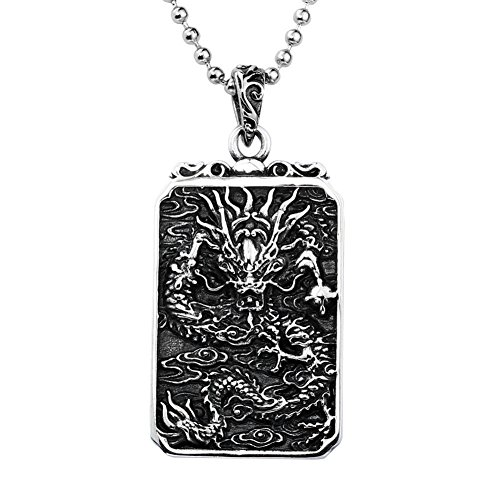HIJONES Men's Stainless Steel Chinese Dragon Lucky Amulet Dog Tag Pendant Necklace Chain 24 Inches from HIJONES