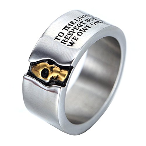 HIJONES Men's Stainless Steel Cool Rock Half Face Skull Biker Ring with Quotes 10MM Wide Band Size P from HIJONES