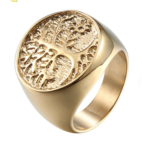 HIJONES Mens Stainless Steel Polished Round Top Signet Style Ring