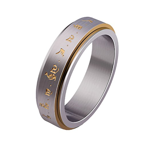 HIJONES Mens Stainless Steel Buddhist Gold Mantra Pattern Spinner Lucky Ring Size P from HIJONES