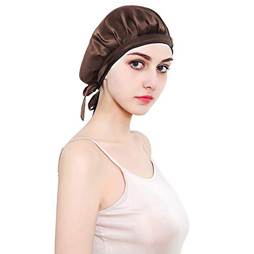 HINATAA 100% Mulberry Silk Night Sleep Cap,Sleeping Cap for Women Head Cover Bonnet for Hair Beauty with Elastic Band for Sleep, Hair Loss, Hair Protection (Brown) from HINATAA