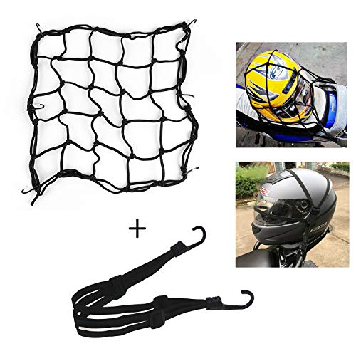 HINATAA Motorcycles Luggage Net and Helmet Rubber Rope,Retractable Elastic Rope Strap Motorcycle Bike Equipment Cargo with Hooks from HINATAA