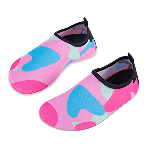 Kids Beach Shoes Swim Water Shoes Toddler Shoes Boys Girls Barefoot Aqua Socks for Children Pool Surfing Yoga Seaside Sport(Pink,Size 7) from HMIYA