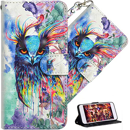 HMTECH Compatible with Huawei Y7 2018 Case 3D Cute Colorful Owl PU Leather Wallet Flip Stand Card Holder Bookstyle Cover Compatible with Huawei Y7 2018,Colorful Owl from HMTECH