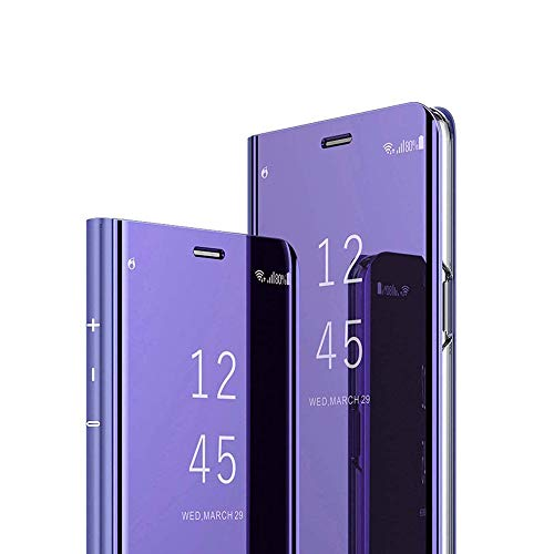 HMTECH Galaxy Note 9 Case Clear View Window Electroplate Plating Stand Mirror Flip Ultra Slim Full Body Wallet Kickstand Bookstyle Cover for Samsung Galaxy Note 9,Mirror PU Purple from HMTECH