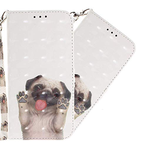 HMTECH Galaxy S9 Case 3D Glitter Cute Pug PU Leather Wallet Flip Stand Card Holder Bookstyle Magnetic Compatible with Samsung Galaxy S9,Pug from HMTECH