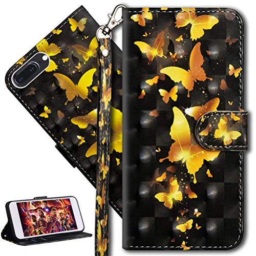 HMTECH Huawei Honor 9 Lite Case 3D Cute Gold Butterfly Flower PU Leather Wallet Flip Case with Kickstand Card Holder Bookstyle Magnetic Closure Cover for Huawei Honor 9 Lit,Gold Butterfly from HMTECH