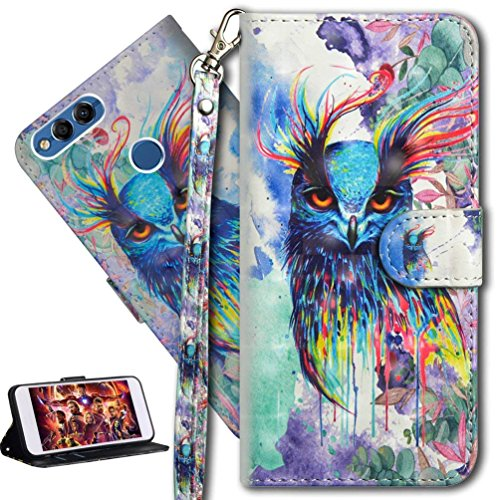 HMTECH Huawei P Smart Case 3D Cute Colorful PU Leather Wallet Flip Case with Kickstand Card Holder Bookstyle Magnetic Closure Cover for Huawei Enjoy 7S,Colorful Owl from HMTECH