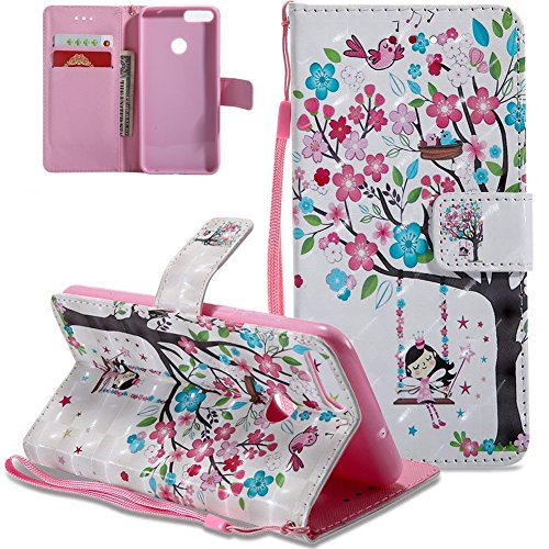 HMTECH Huawei P Smart Case 3D Cute Swing Colorful Flower PU Leather Wallet Flip Case with Kickstand Card Holder Bookstyle Magnetic Closure Cover for Huawei Enjoy 7S,Swing Girl from HMTECH