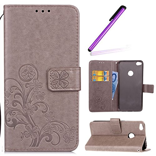 HMTECH Huawei P Smart Case,Huawei P Smart Cover,Lucky Clover Floral Flower Embossing PU Leather Wallet Flip Bookstyle Magnetic Card Slots Case Cover for Huawei P Smart,Lucky Clover:Gray from HMTECH