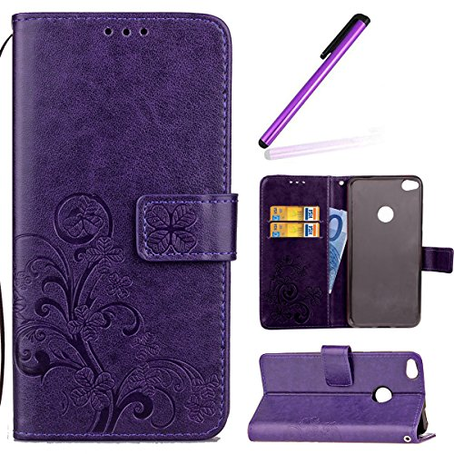 HMTECH Huawei P Smart Case,Huawei P Smart Cover,Lucky Clover Floral Flower Embossing PU Leather Wallet Flip Bookstyle Magnetic Card Slots Case Cover for Huawei P Smart,Lucky Clover:Purple from HMTECH