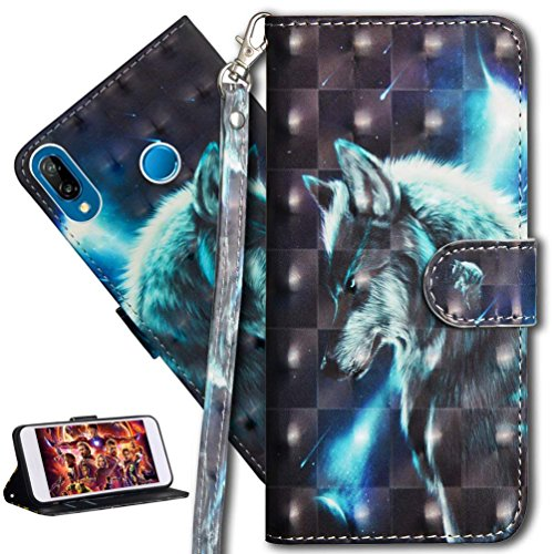 HMTECH Huawei P20 Lite Case 3D Cute Wolf PU Leather Wallet Flip Case with Kickstand Card Bookstyle Magnetic Closure Cover for Huawei P20 Lite,Wolf from HMTECH