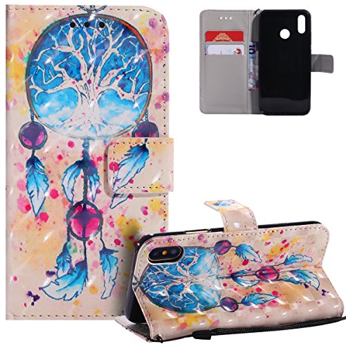 HMTECH Huawei P20 Lite Case 3D Blue Campanula Dreamcatcher PU Leather Wallet Flip Case Kickstand Card Holder Bookstyle Magnetic Closure Cover for Huawei P20 Lite,Blue Campanula from HMTECH