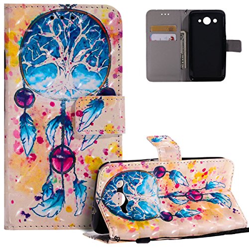 HMTECH Huawei Y3 2017 Case 3D Luxury Blue Campanula Dreamcatcher PU Leather Wallet Flip Case with Kickstand Card Holder Bookstyle Magnetic Closure Cover for Huawei Y3 2018,Blue Campanula from HMTECH