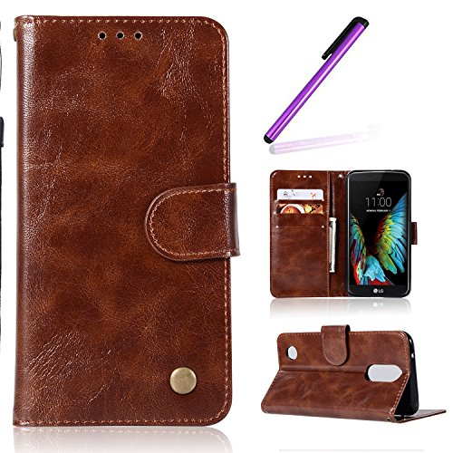 HMTECH LG K4 2017 Case Vintage Pure Color Flower Embossing PU Leather Wallet Flip Bookstyle Magnetic Closure Card Slot Stand Function Cover for LG K4 2017,Vintage Pure PU:Brown from HMTECH