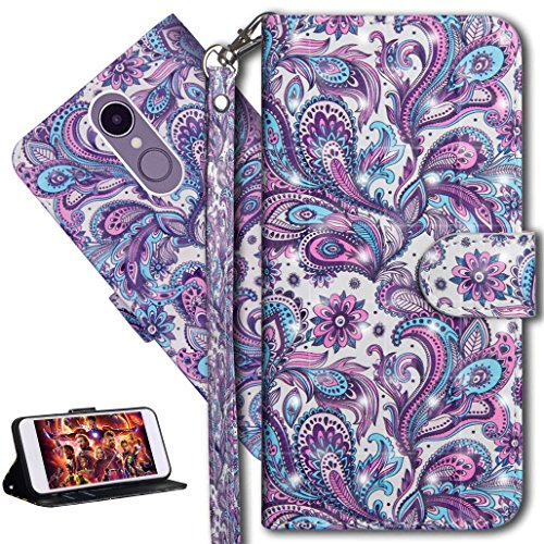 HMTECH LG K8 2018 Case 3D Peacock Flower PU Leather Wallet Flip Case with Kickstand Card Holder Bookstyle Magnetic Closure Cover for LG K8 2018,Peacock Flower from HMTECH