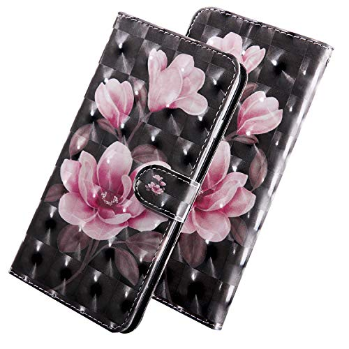 HMTECH for Huawei Honor 7A Case 3D Glitter Pink Flower PU Leather Wallet Flip Stand Card Holder Bookstyle Magnetic Cover Compatible with Huawei Y6 2018,Pink Flower Black Case from HMTECH