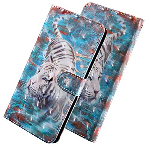 HMTECH for Sony Xperia XA2 Case 3D Glitter White Tiger PU Leather Wallet Flip Stand Card Holder Bookstyle Magnetic Cover Compatible with Sony Xperia XA2,White Tiger YX from HMTECH