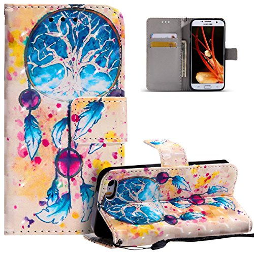 HMTECH iPhone 6 6S Plus Case 3D Luxury Blue Campanula Dreamcatcher PU Leather Wallet Flip Case with Kickstand Card Holder Bookstyle Magnetic Closure Cover for iPhone 6 6S Plus 5.5 Inch,Blue Campanula from HMTECH