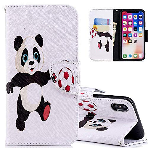 HMTECH iPhone XR Case Football Panda PU Leather Wallet Flip Kickstand Card Holder Bookstyle Magnetic Closure Cover for iPhone XR 6.1 Inch,Football Panda from HMTECH