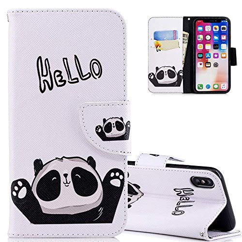 HMTECH iPhone XR Case Hellow Panda PU Leather Wallet Flip Kickstand Card Holder Bookstyle Magnetic Closure Cover for iPhone XR 6.1 Inch,Hellow Panda from HMTECH