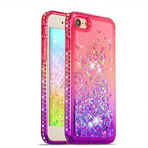 HMTECH iPhone Xs Case Christmas Gardient Clear Liquid Glitter Flowing Soft TPU Silicone Bling Gardient Slim Protective Shockproof Cover for iPhone Xs/X / 10 5.8 Inch,Pink Purple Liquid TPU from HMTECH