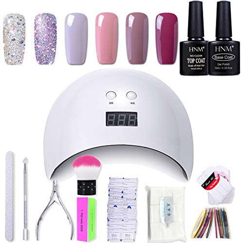 Gel Nail Polish HNM 6 Gel Nail Starter Kit with 24W LED Curing Lamp Base and Top Coat UV LED Soak Off Nail Polish Remover Wrap Manicure Tools Gift Set from HNM