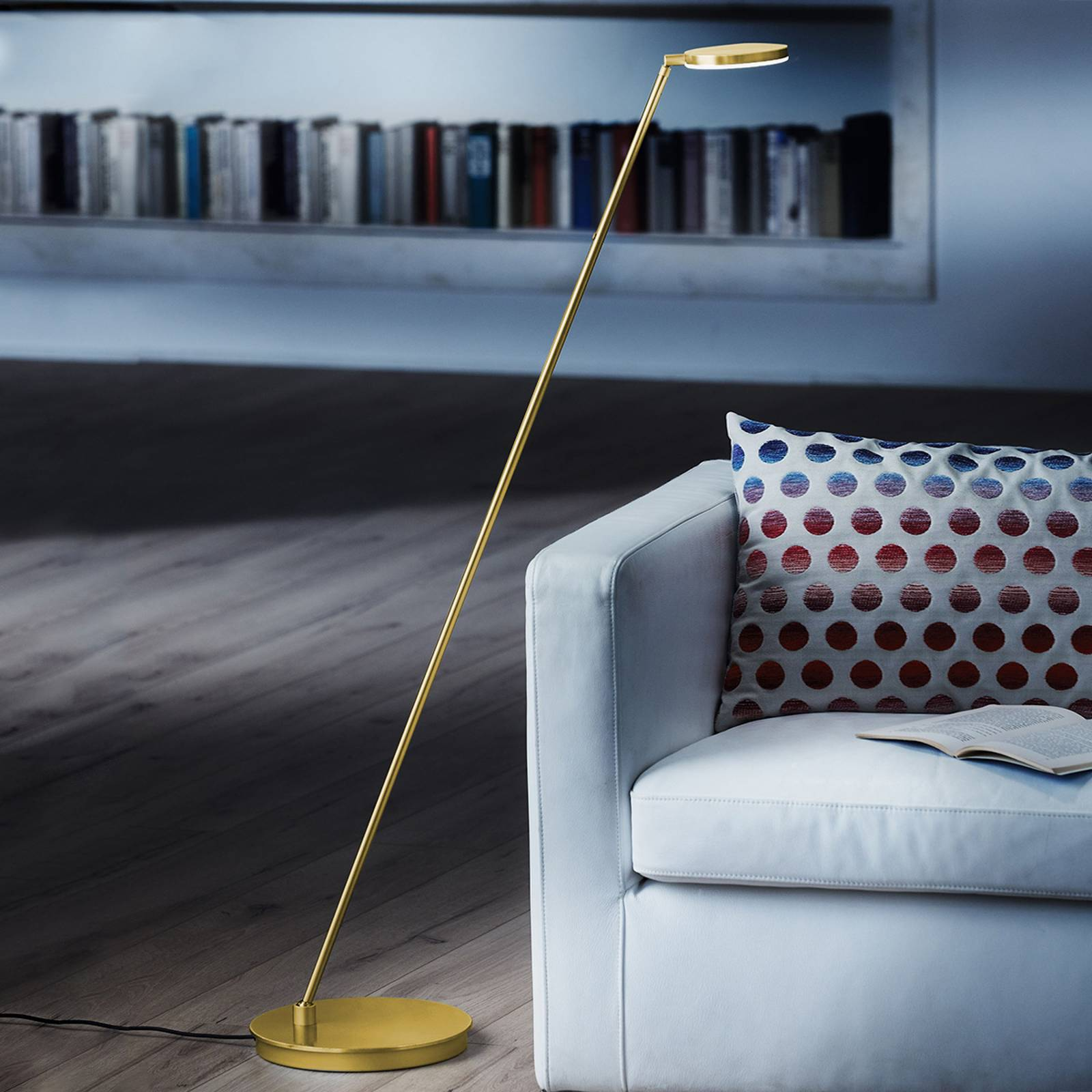 Tilting Plano S LED floor lamp brass from Holtkötter