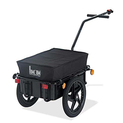 HOMCOM Bicycle Trailer Cargo Jogger Luggage Storage Stroller with Towing Bar - Black from HOMCOM