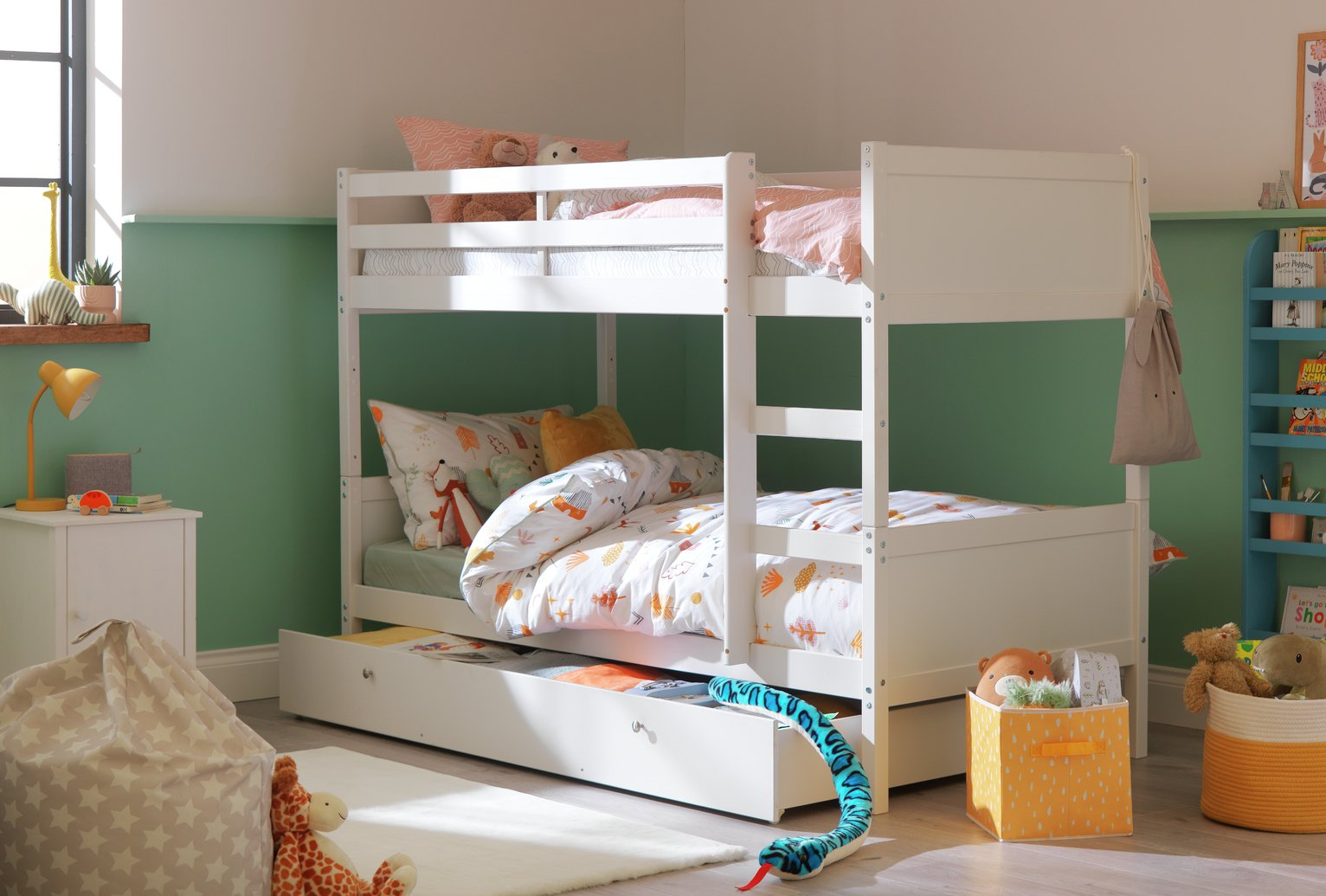 Detachable - Single Bunk Bed Frame with Storage - White from HOME by Argos