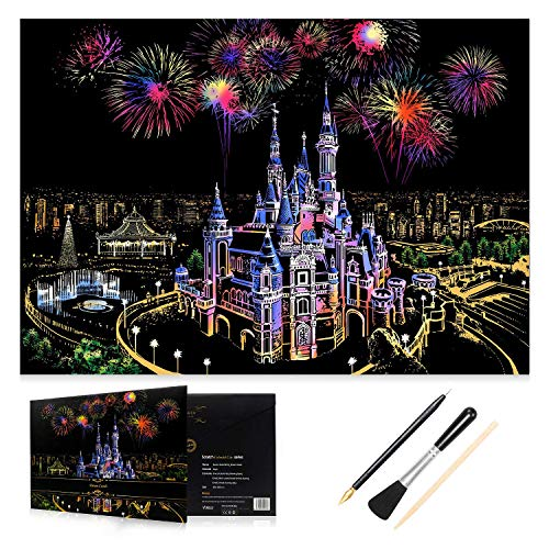 H HOMEWINS Scratch Art Paper 405 x 285mm Night View Scratchboard World Famous City Landmarks Landscapes DIY Art Set with Specialized Tool Kit (Fantasy Castle) from H HOMEWINS