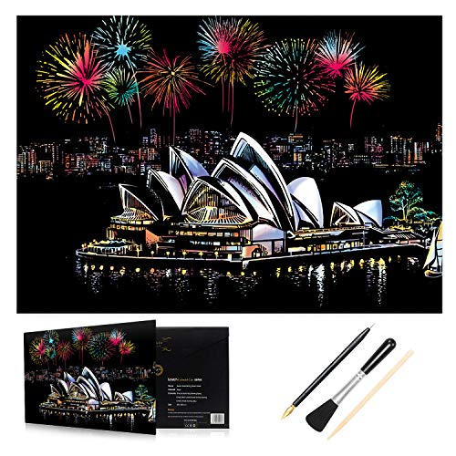 H HOMEWINS Scratch Art Paper 405 x 285mm Night View Scratchboard World Famous City Landmarks Landscapes DIY Art Set with Specialized Tool Kit (Sydney Opera House) from H HOMEWINS