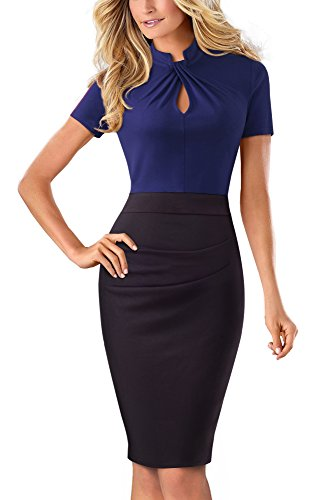 HOMEYEE Women's Vintage Stand Collar Short Sleeve Bodycon Business Pencil Dress B430 (UK 12 = Size L, Dark Blue) from HOMEYEE