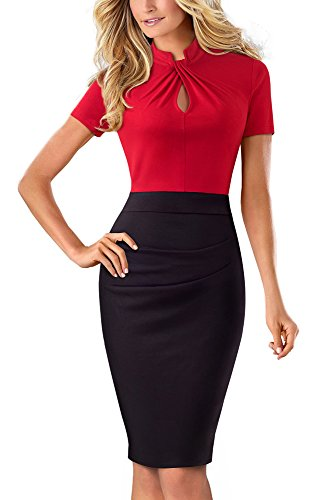 HOMEYEE Women's Vintage Stand Collar Short Sleeve Bodycon Business Pencil Dress B430 (UK 8 = Size S, Red) from HOMEYEE