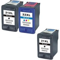 Compatible Multipack HP Deskjet F2187 Printer Ink Cartridges (3 Pack) -HP-2R-21XL/22XL/FP_10832 from Printerinks